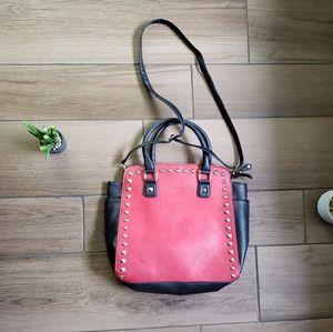 Black Rivet red studded large purse bag crossbody